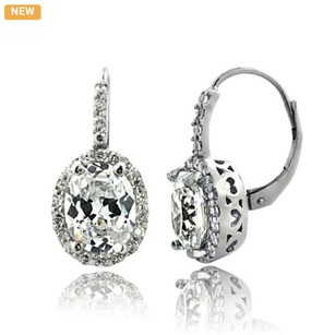 Other Silver Tone 4ct CZ Oval Halo Leverback Earrings