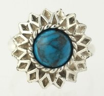 Simulated Turquoise Ring - Stainless Steel Estate Fine Womens Flower Adjustable