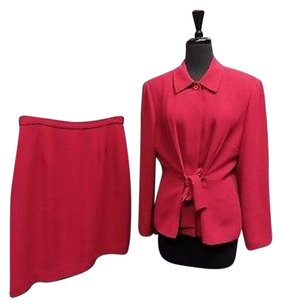 Donna Morgan Petites Magenta Button Down Tie Front Skirt Suit 14p Sma12244