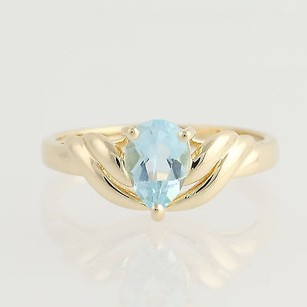 Sky Blue Topaz Tear Drop Ring - 14k Yellow Gold Womens Pear Solitaire 0.90ct