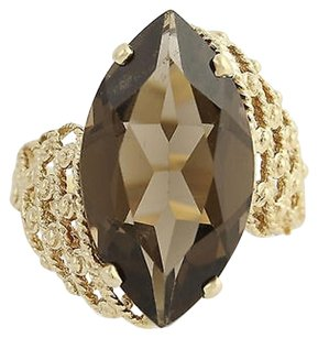 Other Smoky Quartz Cocktail Bypass Ring - 10k Yellow Gold Solitaire 8.70ct