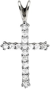 Solid 10k White Gold Cross One Row Genuine Diamond 1 Inch Pendant Charm .25ct.