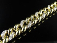 Solid 10k Yellow Gold 9mm Wide Miami Cuban Link Inch Diamond Bracelet 1.20ct