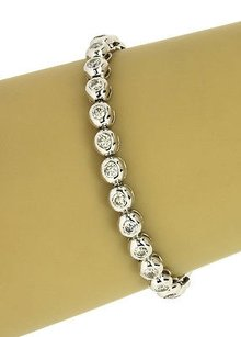 Solid 14k White Gold Carats Diamonds Ladies Tennis Bracelet