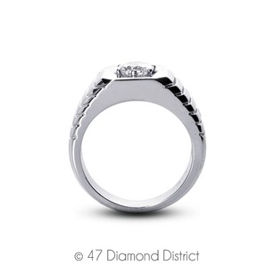0.37ct I-si1 Vg Round Certified Diamond 950 Pl. 6-prong Mens Wedding Ring 20.96g