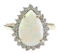 Other Fine Gem Opal Diamond Yellow Gold Solitaire W Accents Ring 14kt 1.25ct