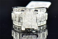 Diamond Engagement Ring 10k White Gold Princess Round Baguette Cut 2.01 Ct