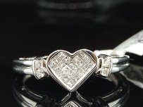 Diamond Heart Ring Ladies 14k White Gold Princess Cut Love Promise Design 14 Ct