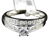 14k Ladies White Gold Round Cut Diamond Engagement Wedding Bridal Ring Set