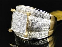 Ladies Womens Yellow Gold Pave Xl Diamond Engagement Bridal Wedding Ring 1.35 Ct