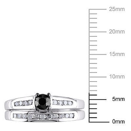 Other 10k White Gold 12 Ct Black And White Diamond Tw Bridal Set Ring Gh I3