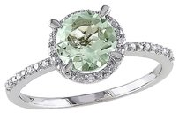 Sterling Silver Diamond 1 16 Ct Tgw Green Amethyst Solitare With Accent Ring