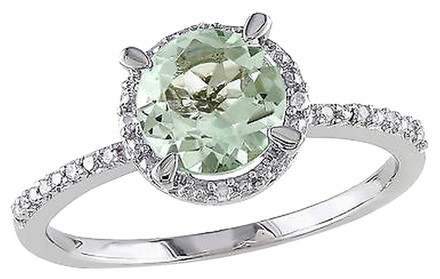 Other Sterling Silver Diamond 1 16 Ct Tgw Green Amethyst Solitare With Accent Ring