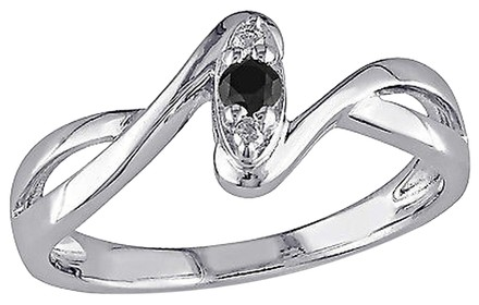 Other Sterling Silver 110 Ct Black And White Diamond Promise Fashion Ring Gh I2i3