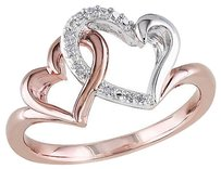 Other Sterling White Pink Silver Diamond Interlocking Heart Love Solitaire Ring
