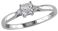 Sterling Silver 0.32 Ct Tw Diamond And White Sapphire Solitare Ring Gh I2i3