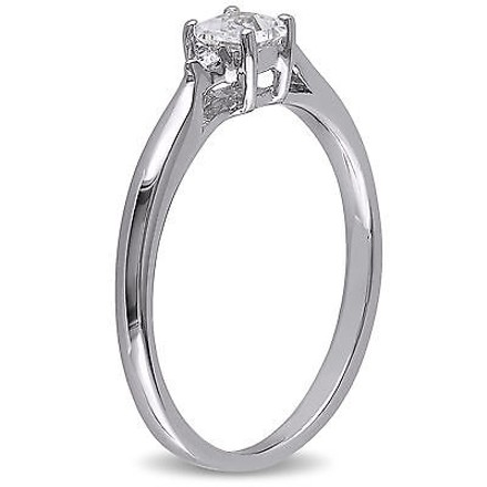 Other Sterling Silver 0.32 Ct Tw Diamond And White Sapphire Solitare Ring Gh I2i3
