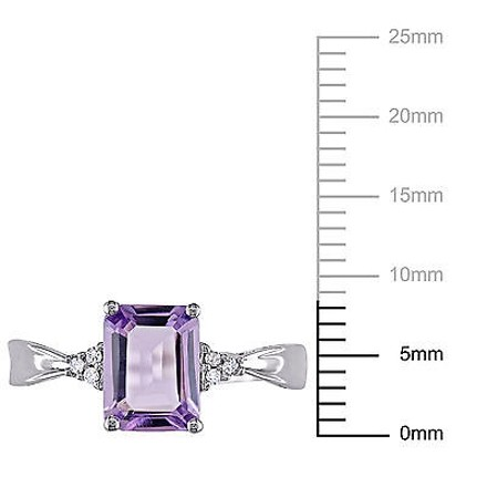 Other 10k White Gold Diamond And 1 25 Ct Tgw Amethyst Fashion Ring Gh I2-i3