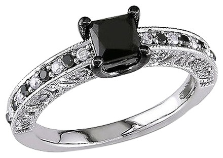 Other Sterling Silver 1 Ct Black White Princess Round Diamonds Solitaire Ring 925