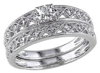 Other Sterling Silver 110 Ct Diamond Tw Vintage Bridal Set Ring Gh I2i3