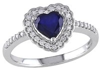 10k White Gold 15 Ct Diamond And 78 Ct Diffused Sapphire Heart Ring Gh I1i2