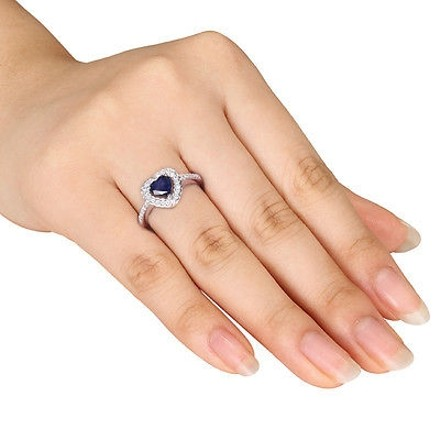Other 10k White Gold 15 Ct Diamond And 78 Ct Diffused Sapphire Heart Ring Gh I1i2