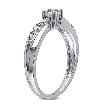 Other Sterling Silver Diamond 13 Ct White Sapphire Crossover Ring Gh I3