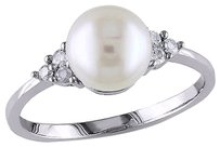 Other 14k White Gold 18 Ct Diamond 7-8 Mm White Freshwater Pearl Fashion Ring Gh I1
