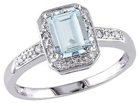 Other Sterling Silver Diamond And 1 Ct Tgw Aquamarine Fashion Ring I3