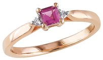 Pink Silver 0.34 Ct Tw Diamond And Pink Tourmaline Solitare Ring Gh I2i3