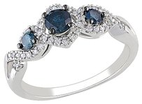 Other 14k White Gold 12 Ct Blue And White Diamond Tw 3 Stone Ring Gh I2-i3