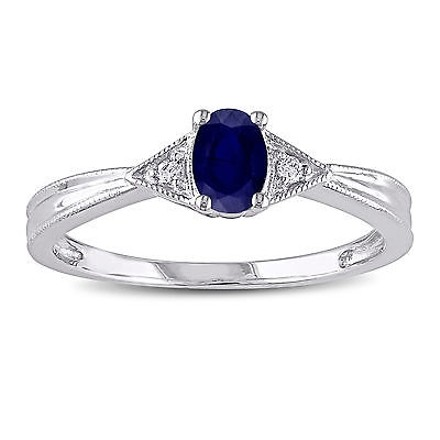 Other 14k White Gold Diamond And 58 Ct Tgw Sapphire Fashion Ring Gh I1-i2