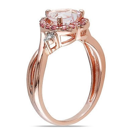 Other Pink Silver Diamond 1 13 Ct Morganite Pink Tourmaline Heart Crossover Ring