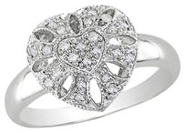 Other 14k White Gold Heart Love Geomtetric Diamond Ring