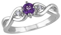 Other Sterling Silver 0.3 Ct Tw Diamond And Amethyst-africa Crossover Ring Gh I3