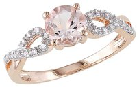 10k Pink Gold 110 Ct Diamond 45 Ct Morganite Crossover Fashion Ring Gh I1i2