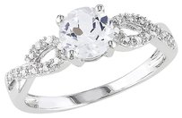 10k White Gold 110 Ct Diamond And 1 Ct White Sapphire Crossover Ring Gh I1i2