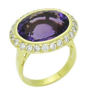 Spark 18k Yellow Gold Faceted Amethyst 1.00 Ct Tcw Vs G Diamond Ring R426