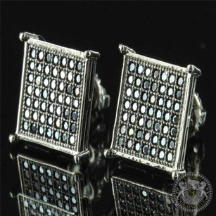 Square Prong Chrome Look Dark Sterling Silver Flat Screen Mens Earring 10mm Cz