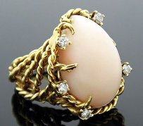 St Geo 18k Yellow Gold Coral Cabochon 0.30ct Diamond Cable Ring R170