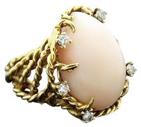Other St Geo 18k Yellow Gold Coral Cabochon 0.30ct Diamond Cable Ring R170