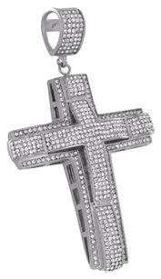 Other Stainless Steel Cross Pendant Jesus Simulated Diamonds White Piece
