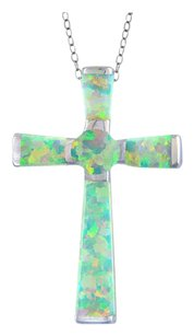 Other Sterling Silver Created White Opal Cross Necklace