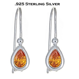 Other Sterling Silver Genuine Yellow Citrine CZ Teardrop Leverback Earrings
