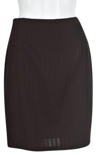 Other Laurel Womens Textured Straight Wool Pencil Skirt Brown