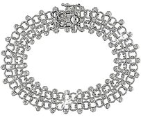 18k White Gold Diamond Twin-strand Bracelet 0.8 Ct G-h Si2-si3 7