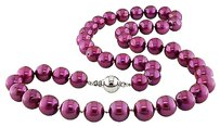 Other 18 9-10 Mm Cranberry Pearl Necklace W Silver 9 Mm Hook-in Pressure Ball Clasp