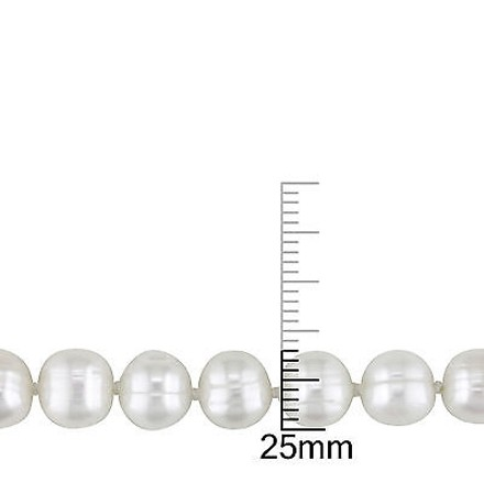 Other Sterling Silver 7.5 7-8 Mm Freshwater Cultured Pearl Bracelet W Fish Eye Clasp
