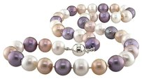 Other 18 9-10 Mm Multi Color White Peach Purple Pearl Necklace W Silver Ball Clasp
