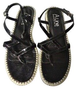 Other A Line Anne Klein Strappy Sling B3410 Black And Off White Sandals
